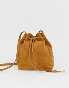 Замшевая сумка-мешок ASOS DESIGN-Светло-коричневый