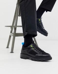 Черные туфли на толстой подошве со шнуровкой и неоново-желтой отделкой ASOS DESIGN-Черный