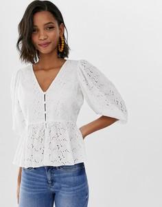 Блузка с объемными рукавами и вышивкой ришелье ASOS DESIGN-Белый