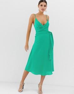 Платье миди с запахом и завязкой на талии ASOS DESIGN-Зеленый