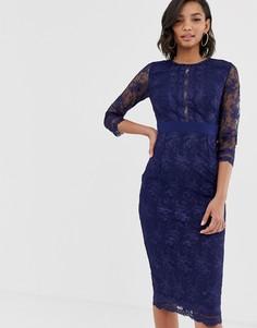 Кружевное платье-футляр миди с длинными рукавами Little Mistress-Черный