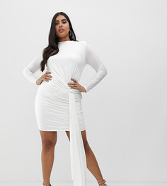 Белое облегающее платье мини со сборками и завязкой сбоку Club L London Plus-Белый
