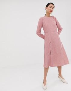 Чайное платье миди с цветочным принтом Lost Ink-Розовый