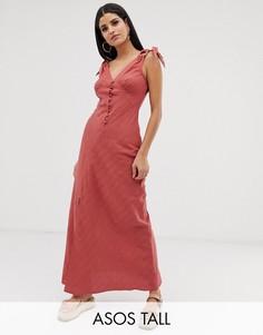 Платье макси на пуговицах ASOS DESIGN Tall-Красный