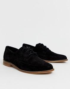 Кожаные туфли на плоской подошве со шнуровкой ASOS DESIGN Marshall-Черный