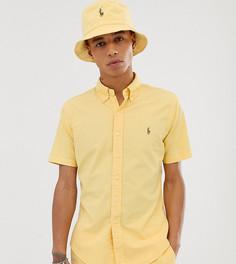 Желтая оксфордская приталенная рубашка с короткими рукавами и логотипом Polo Ralph Lauren эксклюзивно для Asos-Желтый