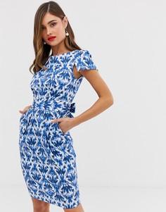 Синее платье с принтом Closet London-Мульти