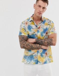 Свободная рубашка с цветочным принтом в стиле 90-х ASOS DESIGN-Синий