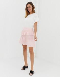 Мини-юбка с ярусными оборками Naf Naf-Розовый