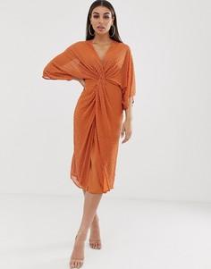 Платье-кимоно миди с отделкой бисером ASOS DESIGN-Оранжевый