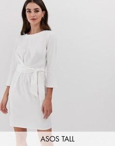 Льняное платье мини с запахом и завязкой ASOS DESIGN Tall-Белый