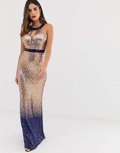Платье макси с американской проймой и пайетками с эффектом омбре City Goddess-Бежевый