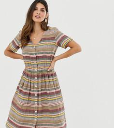 Платье-рубашка миди в полоску с V-образным вырезом Esprit-Мульти