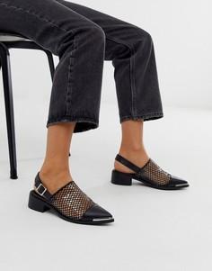 Черные туфли на плоской подошве с ремешком через пятку ASOS DESIGN Maze-Черный