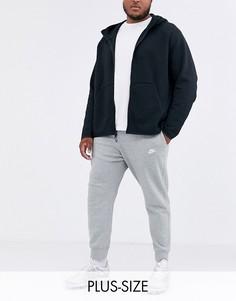 Серые джоггеры с кромкой манжетом Nike Plus Club-Серый