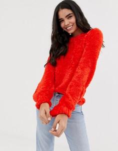 Пушистый джемпер с объемными рукавами QED London-Красный