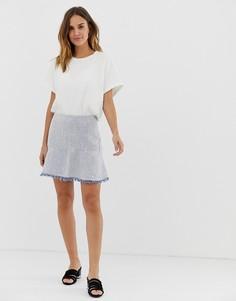 Трикотажная мини юбка-трапеция с бахромой Naf Naf-Серый