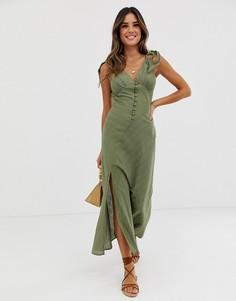 Платье макси на пуговицах с кольцом ASOS DESIGN-Зеленый