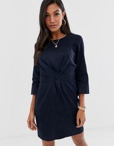 Льняное платье мини с запахом и завязкой ASOS DESIGN-Темно-синий