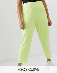 Креповые зауженные брюки ASOS DESIGN Curve-Зеленый