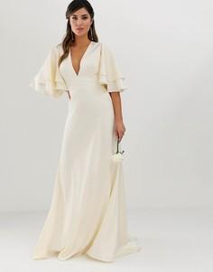 Атласное платье со вставками и рукавами клеш ASOS EDITION wedding-Кремовый