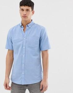 Голубая оксфордская рубашка с короткими рукавами Only & Sons-Синий
