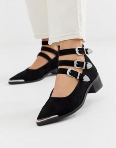 Черные туфли на плоской подошве в стиле вестерн ASOS DESIGN - Mae-Черный
