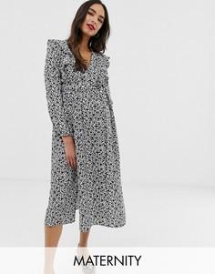 Платье миди с цветочным принтом, длинными рукавами и оборками Glamorous Bloom-Черный