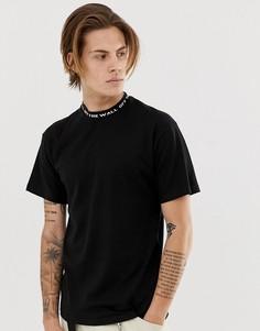 Черная футболка с трикотажным воротником Vans-Черный