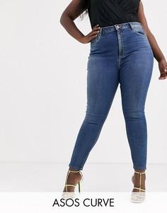 Темно-синие выбеленные джинсы скинни с завышенной талией ASOS DESIGN Curve Ridley-Синий