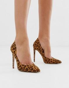 Остроносые туфли-лодочки с леопардовым принтом Miss KG-Светло-коричневый