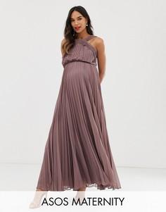 Платье макси с плиссированным лифом ASOS DESIGN Maternity-Фиолетовый