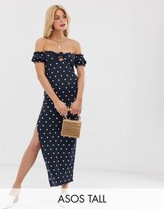 Летнее платье макси с пышными рукавами и принтом ASOS DESIGN Tall-Мульти