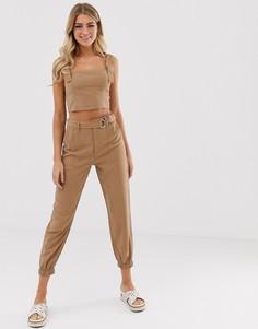 Зауженные брюки с поясом Miss Selfridge-Бежевый