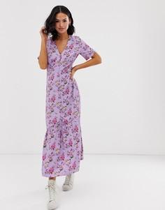 Свободное платье мидакси с цветочным принтом в винтажном стиле Glamorous-Фиолетовый