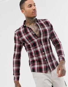 Розово-коричневая эластичная приталенная рубашка в клетку с длинными рукавами ASOS DESIGN-Коричневый
