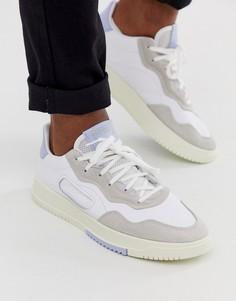 Белые кроссовки с синей вставкой на заднике adidas Originals - SC Premier-Белый