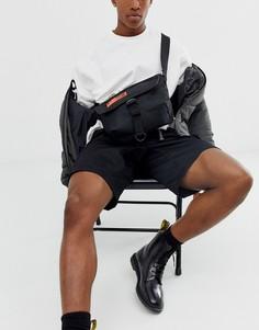 Черно-оранжевая маленькая сумка-сэтчел с прорезиненным принтом ASOS DESIGN-Черный