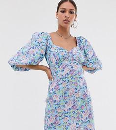Чайное платье на пуговицах с цветочным принтом Reclaimed Vintage inspired-Синий