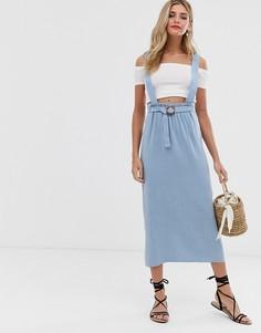 Синяя юбка макси в стиле сарафана ASOS DESIGN-Синий