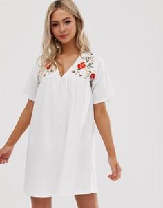 Свободное хлопковое платье с вышивкой ASOS DESIGN-Белый