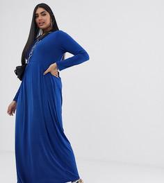 Трикотажное платье макси с длинными рукавами Verona Curve-Синий