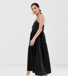 Свободное ярусное платье макси на бретелях COLLUSION-Черный