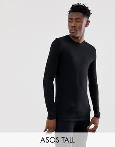 Черная обтягивающая футболка из органического материала с длинным рукавом и круглым вырезом ASOS DESIGN Tall-Черный