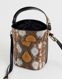 Сумка-мешок со змеиным принтом Carvela Fizz-Коричневый