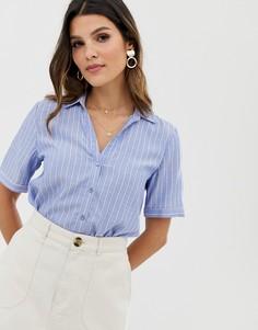 Голубая блузка с полосками Esprit-Синий