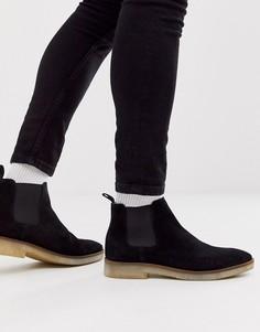 Черные замшевые ботинки челси с натуральной подошвой ASOS DESIGN-Черный