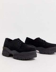Туфли со шнуровкой на массивной плоской подошве ASOS DESIGN Magnum-Черный