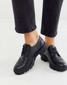 Черные броги на массивной подошве со шнуровкой London Rebel-Черный