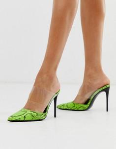 Туфли на шпильке с прозрачным ремешком и змеиной отделкой Truffle Collection-Зеленый